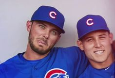 Those damn eyes though😍Kris Bryant and Anthony Rizzo - 2016 Chicago Cubs Baseball, Baseball Boys, Baseball Players, Hockey, Cubs Players, Cubs Team, Chicago Cubs World Series, Cubs Win, Go Cubs Go
