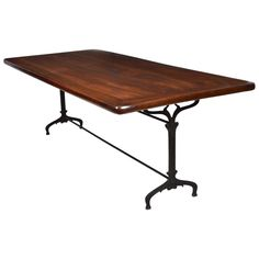 Antique Solid Walnut and Forged Iron Vineyard Table