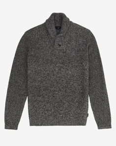 BASKET STITCH LS SHAWL NECK - Charcoal | Knitwear | Ted Baker UK