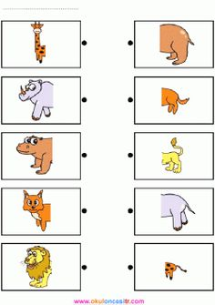 Printable brain teaser worksheets for kids in preschool, kindergarten, grade draw line to match the front half of each animal shown on the left with its back half shown on the right. Educational Activities For Kids, Animal Activities, Montessori Activities, Preschool Activities, Kids Learning, Zoo Preschool, Preschool Centers, Kindergarten Worksheets, Education And Development