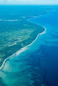 The coast of Tanzania on a flight to Zanzibar