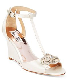 Badgley Mischka Nedra Evening T-Strap Wedge Sandals