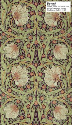 William Morris Reproduction wallpaper - pimpernel. Designed by William Morris in 1876. $189 per 33' (double) roll.