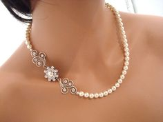 Bridal pearl necklace wedding jewelry vintage by treasures570, $75.00