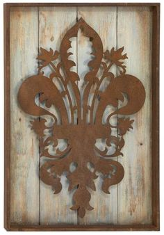 inspiration for cut Cardboard (faux rusted) on reclaimed wood <3