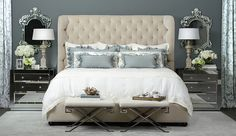 Soft blue accents and a plush, high headboard pair elegantly with touches of damask and lace. Mirrored bedside tables reflect light and luxury, while ornate, French-inspired accessories create a sense of countryside grace. Simone Bed. http://www.highfashionhome.com/room-ideas/bedroom/object-d-art.html