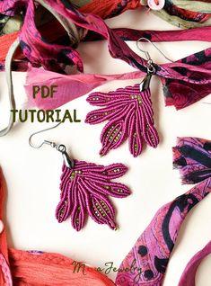 PDF tutorial of macrame earrings leaves leaf pendant DIY Macrame Earrings Tutorial, Earring Tutorial, Bracelet Tutorial, Micro Macramé, Macrame Patterns, Beading Patterns, Macrame Design, Macrame Knots, Leaf Pendant