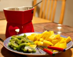 Dessert Fondue with fresh fruit dippers from The Tabletop Cook