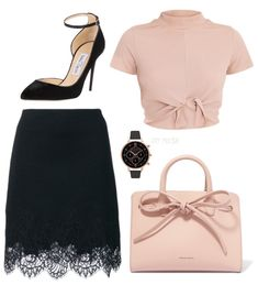 Heels: Jimmy Choo Skirt: Ermanno Scervino lace trim skirt Purse: Mansur Gavriel Sun Mini Mini Leather Tote - Blush Shirt: Maycie Black Knot Front Crop T Shirt Watch: TopShop Olivia Burton Big Dial Chrono Detail Black and Rose Gold Watch Dressy Outfits, Girly Outfits, Stylish Outfits, Work Fashion, Fashion Outfits, Womens Fashion, Baskets Louis Vuitton, Mode Rockabilly, Mode Ootd