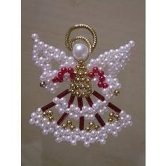 Try santa & Mrs Claus as angels. Christmas Ornaments To Make, Christmas Jewelry, Christmas Angels, Christmas Crafts, Beaded Crafts, Beaded Ornaments, Angel Ornaments, Safety Pin Crafts, Beaded Angels