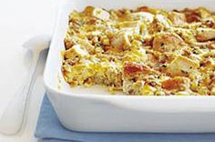 Jude's Chicken Casserole. Stove Top Stuffing, Chicken, Cream of Chicken Soup, and Velveeta in a baking dish:)