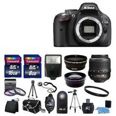 Nikon D5200 Digital SLR DSLR Camera +3 Lens 18-55 VR 24GB KIT Brand New