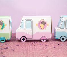 Furgonetki z lodami - pastelowe pudełka do druku
