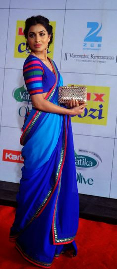 Indian Bollywood actress Pallavi Sharda attends the Zee Cine Awards ceremony in Mumbai. Saree Blouse Patterns, Saree Blouse Designs, Indian Attire, Indian Ethnic Wear, Ethnic Fashion, Asian Fashion, Indian Dresses, Indian Outfits, Trendy Sarees