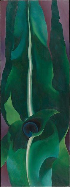 """Corn, Dark , No. 1"" by Georgia O'Keeffe, 1924. Oil on wood fiberboard. Metropolitan Museum of Art, Alfred Stieglitz Collection, 1950. 50.236.1"