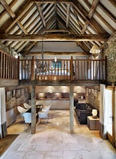 antresola Barn Conversion Interiors, Barn Conversion Kitchen, Pole Barn House Plans, Pole Barn Homes, Open Floor House Plans, Cottage Shabby Chic, Modern Barn, Post Modern, Small Barns