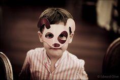 Boy in doggy mask - Copyright Edward Olive fotografos de bodas y retratos Hotel Palace Madrid Spanish wedding & portrait photographer
