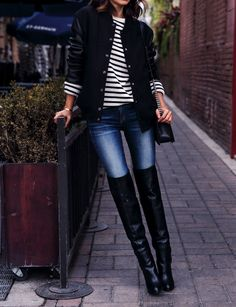 Sandro varsity jacket { similar here } | Rag & Bone The Skinny jeans | Equipment Lucien crew neck sweater | Chanel Boy flap bag in perforated leather | Sergio Rossi Saddle over-the-knee boots { in burgundy here } | Coordinates Legend bracelet | Wanderlust & Co rings