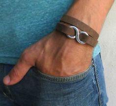 Men's Bracelet  Brown Leather Bracelet With Silver by Galismens