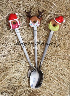 """Ложки ручной работы. Ярмарка Мастеров - ручная работа. Купить """"Вкусная ложка""""  Новогодние пончики. Handmade. Комбинированный, вкусные ложки"""