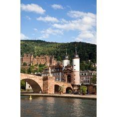 Alte Brücke - Karl Theodor Bruecke - Brückenturm und Heidelberger Schloss, Heidelberg, Fototapete Merian, Fotograf: A. F. Selbach