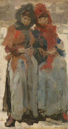 Isaac Lazarus Israëls (1865 –1934) Two Young Women in the Snow, Isaac Israels, c. 1890 - c. 1894 oil on panel, h 65cm × w 36cm Rijksmuseum