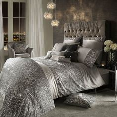Instantly refresh a bedroom interior with this Esta Silver duvet cover from Kylie Minogue. Adding sparkle and glamour to a home, this silver duvet cover features a statement beaded design and a soft s Bed Linen Sets, Bed Sets, Casa Magnolia, Kylie Minogue At Home, Glam Bedroom, Bedroom Interiors, Silver Bedroom Decor, Master Bedroom, Duvet Bedding