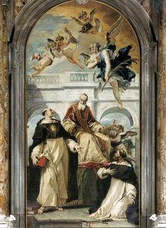 """theraccolta: """" Sts. Thomas Aquinas, Pius V, and Peter of Verona by Sebastiano Ricci """""""