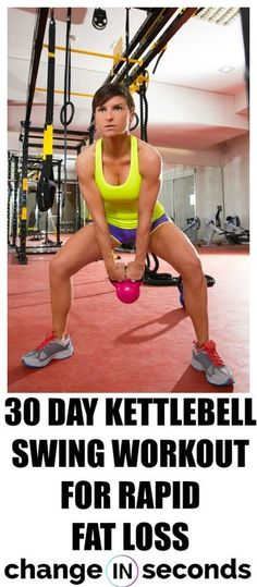 Fitness 30 Day Kettlebell Swing Workout For Rapid Fat Loss! Print our FREE PDF and do the workout anywhere! Kettlebell Swings, Best Kettlebell Exercises, Kettlebell Training, Workout Kettlebell, Fat Workout, Weight Loss Workout, Kettlebell Deadlift, Kettlebell Challenge, Workout Exercises