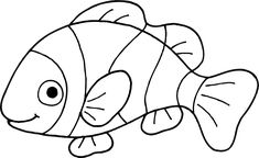 black and white clip art of fish Black And White Cartoon, Clipart Black And White, Black And White Drawing, Fish Coloring Page, Animal Coloring Pages, Coloring Books, Fish Patterns, Quilt Patterns, Fish Outline