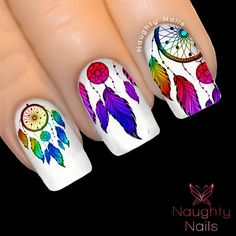 rainbow dreams by Steph Doddridge on Etsy Indian Nail Art, Indian Nails, Love Nails, Pretty Nails, Dream Catcher Nails, Feather Nails, Feather Art, Clear Nails, Nail Stickers