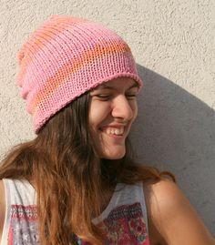 Hand Knit Hat // Cotton Hat  Womens Beanie / by EllenaKnits, $27.00