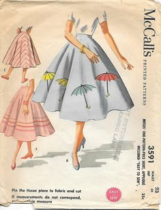 1950s Circle Skirt with Applique McCalls Sewing Pattern, offered on Etsy by GrandmaMadeWithLove