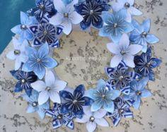 Origami papier bloem krans / bruiloft decoraties origami krans, papier bloem krans, kusudama, papier krans, bloemen van papier, papier boeket