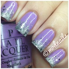 Purple and sliver glitter gradient nails {OPI Do You Lilac It, OPI Crown Me Already, China Glaze Glistening Snow, Essie Set In Stones}
