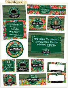 kit Festa Feijoada Samba, Cha Bar, Invitation Ideas, Invitation Birthday, Party Labels, Events, Party, Art