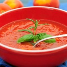Provençal Tomato Soup - This simple soup is a favorite at our classes. It can be made with either fresh or canned tomatoes and eaten hot in the winter or cold in the summer. Some cooks I know prefer to use Arborio rice, so substitute it for the barley if you prefer.  In France à la Provençale means lots of garlic. There may seem to be a lot in this soup, but fear not; the way it's cooked gives the soup a soft, rich flavor. Garlic is such a good cancer-fighting vegetabl…