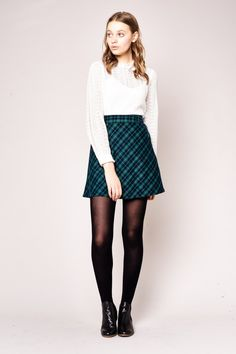 Laney Check Skirt in Navy-Green