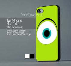 Mike Wazowski Monster For iPhone 4 or 4S Hard Plastic Black Case   YourCazeMate - Accessories on ArtFire