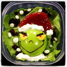 Christmas Lunch: The Grinch.  Here is the Christmas lunch my daughter and I did on T.V. last week for my blog www.lunchboxdad.com. #bento #kidslunches #drseuss