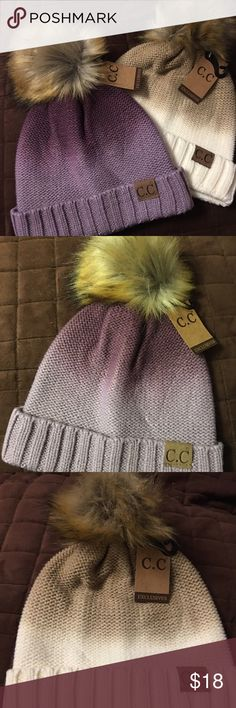 Gorgeous winter cap with faux fur Pom Pom  Ombré winter caps with faux fur Pom Pom . One in shades of purple and one in shades of brown. Please specify in comments which color you would like! $18 each! CC Accessories Hats