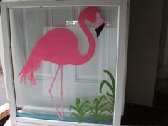 Flamingo Wall Hanging, Beach Wall Decor, Pink Flamingo, Vintage Window, Flamingo Wall Decor, Beach Shabby Chic Home