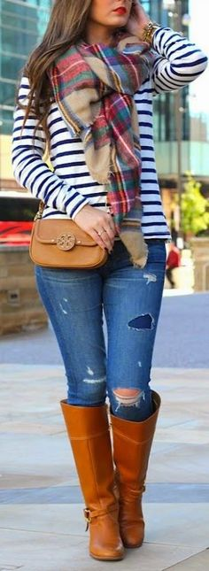 Great Fall Look - Stripes + Plaid Scarf + Jeans + Long Booties.