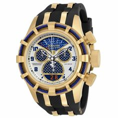 Invicta 17465 Men's Bolt Reserve Chrono Black Polyurethane Blue Carbon Fiber Dial Gold-tone Case ** See this great product.