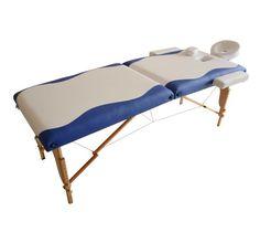 2 fold Portable PU Massage Table with Hardwood Leg - (Blue & White)