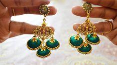 How to make designer silk thread jhumka earrings at home Silk Thread Bangles, Thread Jewellery, Beaded Jewelry, Gold Jewelry, Silk Thread Earrings Designs, Silk Thread Necklace, Paper Earrings, Diy Earrings, Emerald Earrings