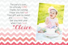 chevron birthday thank-you card