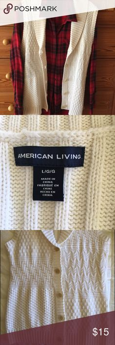 "Long White Knit Vest Looks great paired with your favorite shirt.  It is soft and will keep you warm during the winter months.  Excellent Barely Used Condition.  26"" from back of neck to hem; 16"" armpit to armpit.  Smoke-Pet Free. American Living Jackets & Coats Vests"