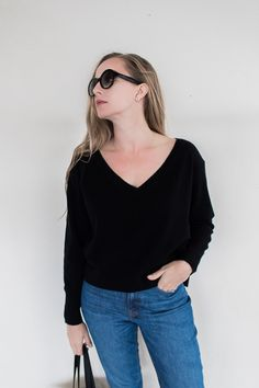 Black V-Neck Sweater Three Ways Black V Neck Sweater, Minimal Wardrobe, Third Way, Minimal Fashion, Capsule Wardrobe, Cashmere, Swimsuits, Skinny, Denim