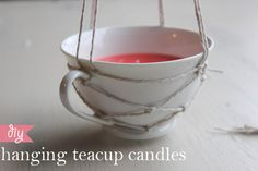 Hanging Teacup Candles- by Hello Hydrangea via The Perfect Pear